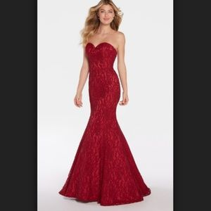 Alyce 1294 red lace mermaid gown